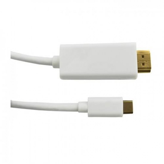 Qoltec 50414 video cable adapter 1 m HDMI Type A (Standard) USB C White