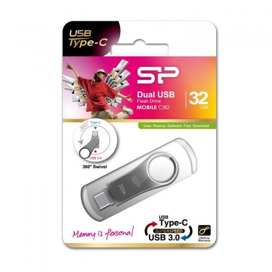Silicon Power Mobile C80 USB flash drive 32 GB USB Type-A / USB Type-C 3.0 (3.1 Gen 1) Titanium
