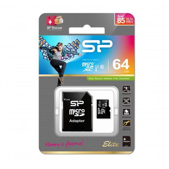 Silicon Power Ellite memory card 64 GB MicroSDXC Class 10 UHS-I