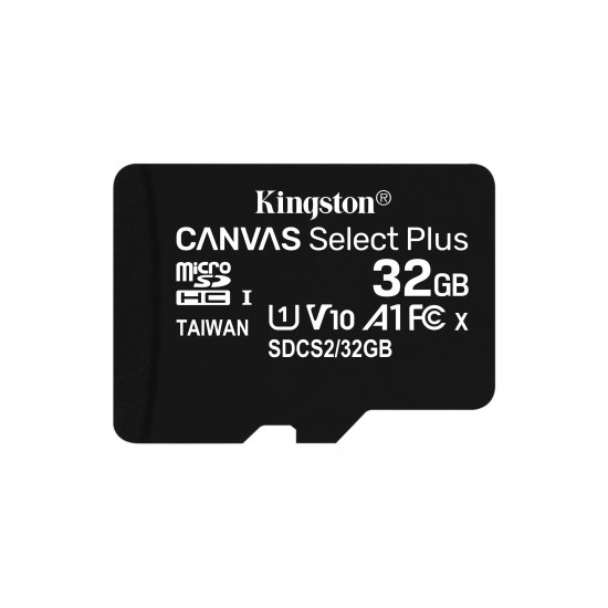 Kingston Technology Canvas Select Plus memory card 32 GB MicroSDHC Class 10 UHS-I