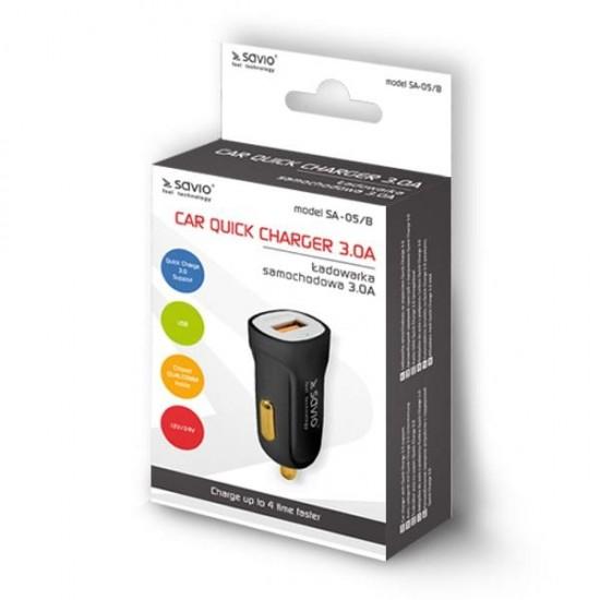Savio Car Quick Charge charger Savio SA-05/B 3.0A, 1xUSB